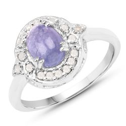 1.92 Carat Genuine Tanzanite and White Diamond .925 Sterling Silver Ring