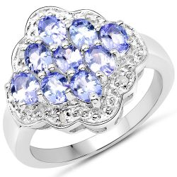 1.55 Carat Genuine Tanzanite and White Diamond .925 Sterling Silver Ring