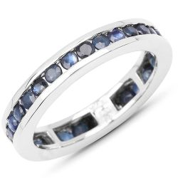 2.00 Carat Genuine Blue Sapphire .925 Sterling Silver Ring