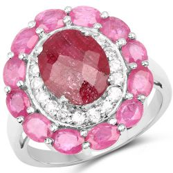 6.01 Carat Dyed Ruby, Ruby and White Topaz .925 Sterling Silver Ring