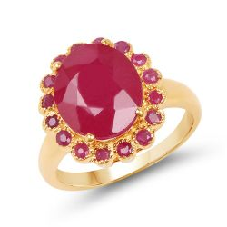 14K Rose Gold Plated 5.89 Carat Glass Filled Ruby and Ruby .925 Sterling Silver Ring
