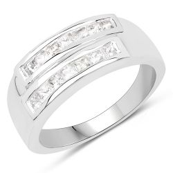 0.70 Carat Genuine White Sapphire .925 Sterling Silver Ring