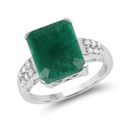 6.54 Carat Dyed Emerald & White Topaz .925 Sterling Silver Ring