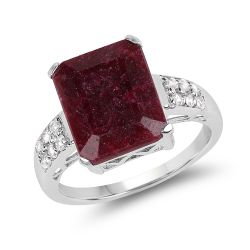 7.34 Carat Dyed Ruby & White Topaz .925 Sterling Silver Ring