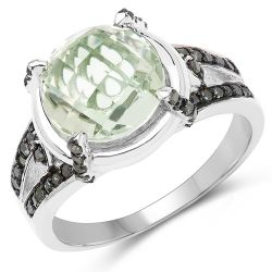 """4.06 Carat Genuine Green Amethyst, Green Diamond & White Diamond .925 Sterling Silver Ring"""