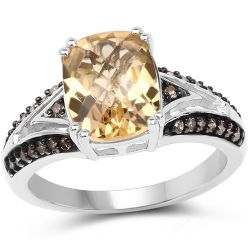 2.79 Carat Genuine Citrine, Champagne Diamond & White Diamond .925 Sterling Silver Ring