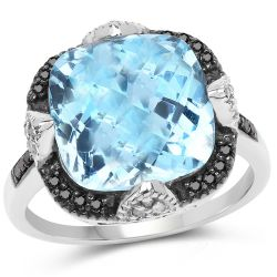 8.29 Carat Genuine Swiss Blue Topaz, Black Diamond & White Diamond .925 Sterling Silver Ring