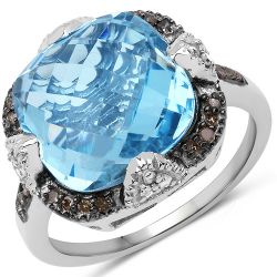 """8.29 Carat Genuine Swiss Blue Topaz, Champagne Diamond and White Diamond .925 Sterling Silver Ring"""