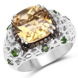 4.13 Carat Genuine Citrine, Chrome Diopside & Champagne Diamond .925 Sterling Silver Ring