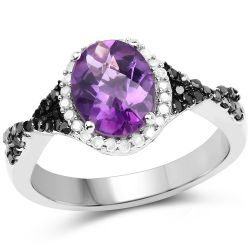 1.64 Carat Genuine Amethyst, Black Diamond & White Diamond .925 Sterling Silver Ring