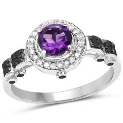 1.02 Carat Genuine Amethyst, Black Diamond & White Diamond .925 Sterling Silver Ring