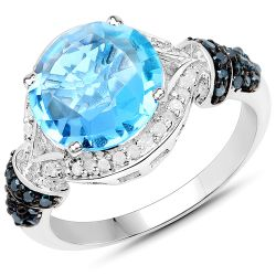 4.94 Carat Genuine Swiss Blue Topaz, Blue Diamond and White Diamond .925 Sterling Silver Ring