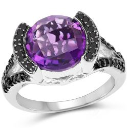 3.24 Carat Genuine Amethyst & Black Diamond .925 Sterling Silver Ring
