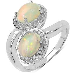 1.85 Carat Genuine Ethiopian Opal and White Diamond .925 Sterling Silver Ring
