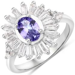 2.01 Carat Genuine Tanzanite and White Topaz .925 Sterling Silver Ring