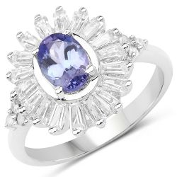 """1.93 Carat Genuine Tanzanite, White Topaz and White Diamond .925 Sterling Silver Ring"""
