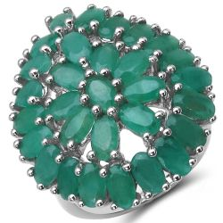 8.10 Carat Genuine Emerald .925 Sterling Silver Ring