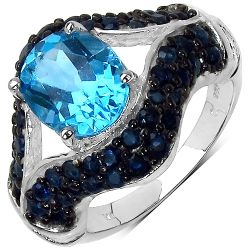 5.02 Carat Genuine Blue Topaz & Blue Sapphire .925 Sterling Silver Ring