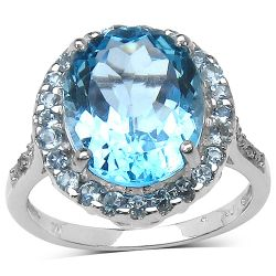 5.90 ct. t.w. Blue Topaz and White Topaz Ring in Sterling Silver