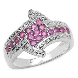 0.77 Carat Genuine Ruby .925 Sterling Silver Ring