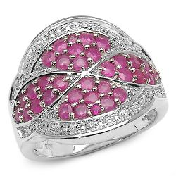 1.55 Carat Genuine Ruby & White Topaz .925 Sterling Silver Ring