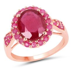14K Rose Gold Plated 5.20 Carat Genuine Glass Filled Ruby & Ruby .925 Sterling Silver Ring
