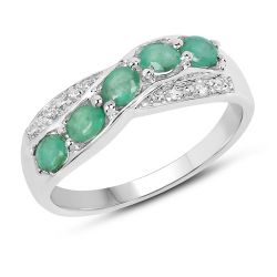 0.79 Carat Genuine Zambian Emerald & White Topaz .925 Sterling Silver Ring