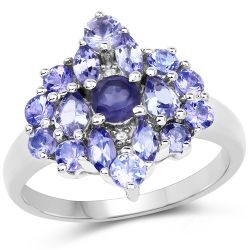 1.57 Carat Genuine Iolite, Tanzanite & White Topaz .925 Sterling Silver Ring