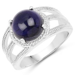3.65 Carat Genuine Iolite .925 Sterling Silver Ring