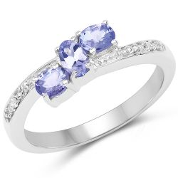 0.61 Carat Genuine Tanzanite & White Diamond .925 Sterling Silver Ring