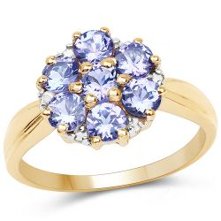14K Yellow Gold Plated 1.45 Carat Genuine Tanzanite and White Diamond .925 Sterling Silver Ring