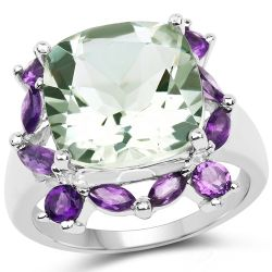 6.46 Carat Genuine Green Amethyst and Amethyst .925 Sterling Silver Ring