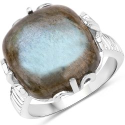 11.50 Carat Genuine Labradorite .925 Sterling Silver Ring