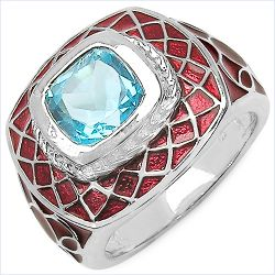 2.65 Carat Genuine Swiss Blue Topaz .925 Sterling Silver Ring