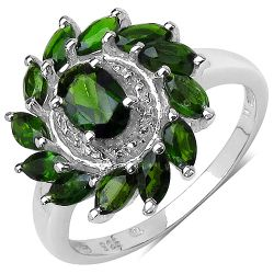 1.43 Carat Genuine Chrome Diopside .925 Sterling Silver Ring