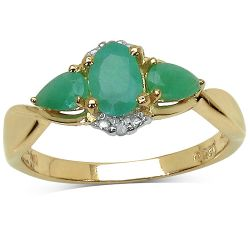 14K Yellow Gold Plated 0.96 Carat Genuine Emerald & White Diamond .925 Sterling Silver Ring