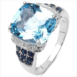 5.20 Carat Genuine Blue Topaz , Blue Sapphire & White Diamond .925 Sterling Silver Ring
