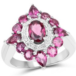3.07 Carat Genuine Rhodolite .925 Sterling Silver Ring