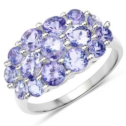 2.61 Carat Genuine Tanzanite .925 Sterling Silver Ring
