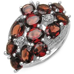 5.29 Carat Genuine Garnet & White Topaz .925 Sterling Silver Ring