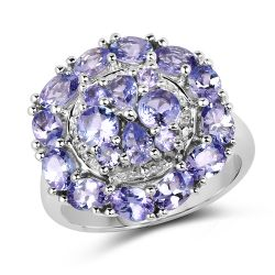 2.92 Carat Genuine Tanzanite .925 Sterling Silver Ring