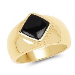14K Yellow Gold Plated 2.00 Carat Genuine Black Onyx .925 Sterling Silver Ring