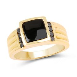 14K Yellow Gold Plated 2.16 Carat Genuine Black Onyx and Black Diamond .925 Sterling Silver Ring