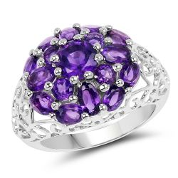 3.29 Carat Genuine Amethyst .925 Sterling Silver Ring