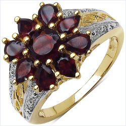 14K Yellow Gold Plated 2.02 Carat Genuine Garnet .925 Sterling Silver Ring