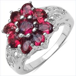 2.10 Carat Genuine Rhodolite .925 Sterling Silver Ring