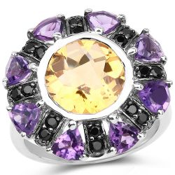 """5.72 Carat Genuine Citrine, Amethyst & Black Spinel .925 Sterling Silver Ring"""