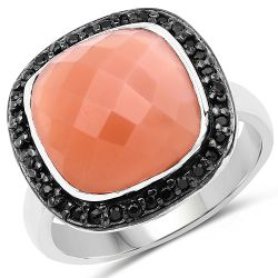 6.46 Carat Genuine Peach Moonstone and Black Spinel .925 Sterling Silver Ring