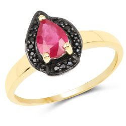 14K Yellow Gold Plated 0.94 Carat Glass Filled Ruby and Black Spinel .925 Sterling Silver Ring