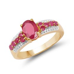 14K Yellow Gold Plated 1.43 Carat Genuine Glass Filled Ruby & Ruby .925 Sterling Silver Ring